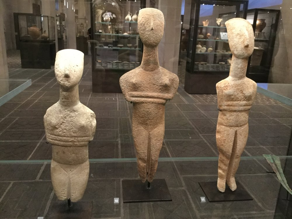 These marble ladies are from Greece, about 2700 - 2300 BC. Amazing! Their poise and comportment make me think of yoga people.