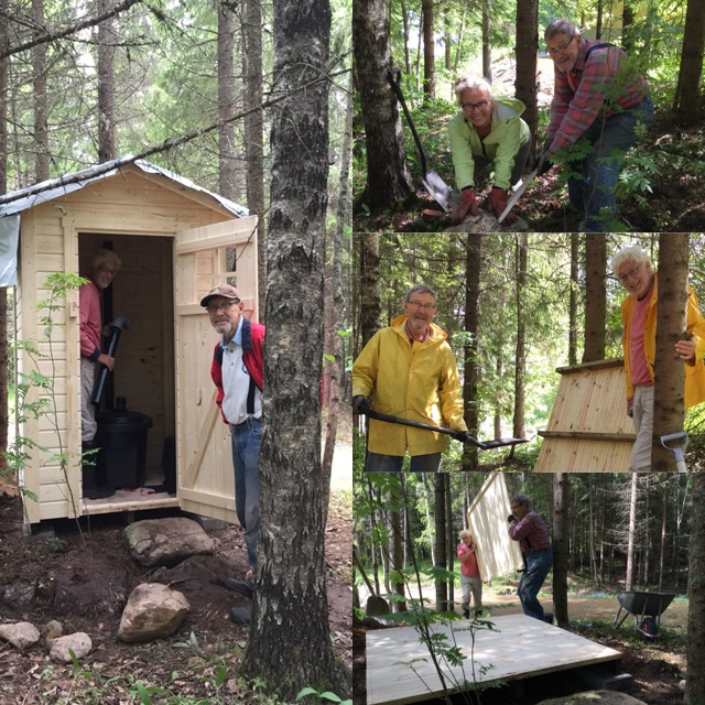 We helped Pappa Anssi build an outhouse. The kit said it would take 1-3 hours to put together.... well it took us about 3 days!