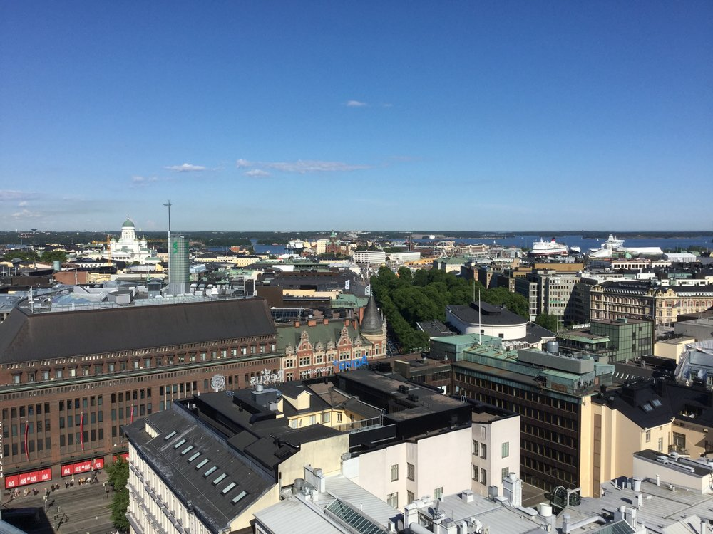 Back in Helsinki in the summer sun. Our ferry is the red and white one at the top right of the picture.