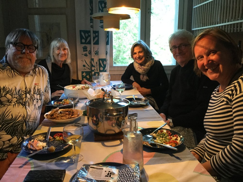 A wonderful evening in Kumpula with Jari and Sirkka-Liisa Jetsonen, and my former boss Kaarina Löfström. Meeting new friends Pirkko and John Lucchesi from San Fransisco.