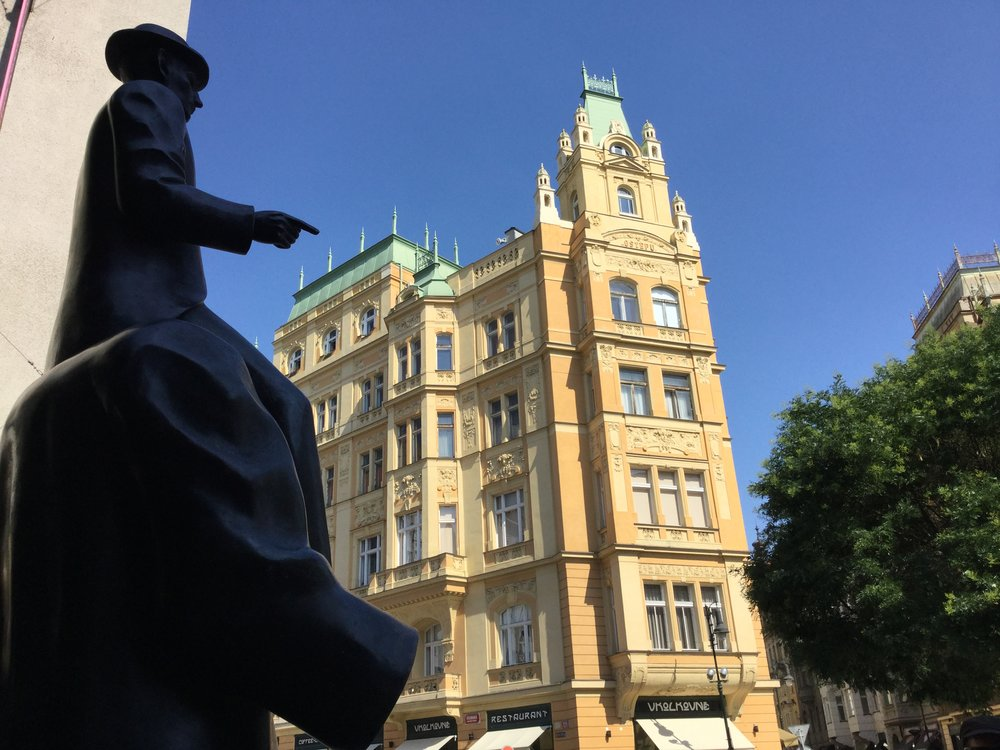 Prague is Frantz Kafka's city. Here is his famous statue in the Jewish quarter.