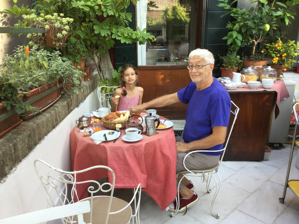 At our beautiful breakfast patio. It doesn't show here, but there was a string of Tibetan prayer flags strung across. Without knowing anything about the owners Marco and Alessandra ahead of time, once again we ended up in a place of active consciousness.