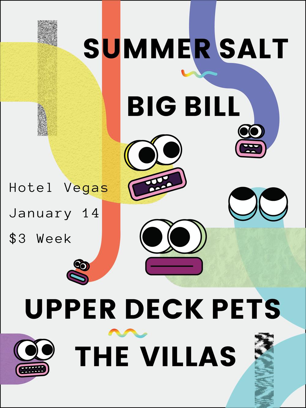 January 14, Austin, TX - Gig Poster for Hotel Vegas