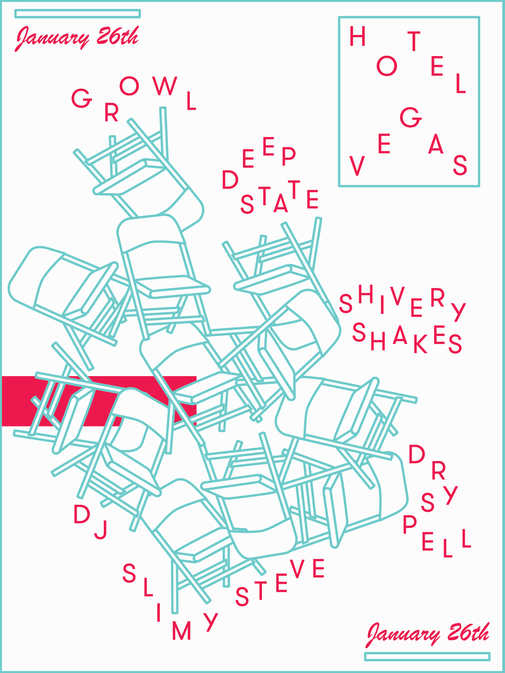 January 26, Austin, TX - Gig Poster for Hotel Vegas