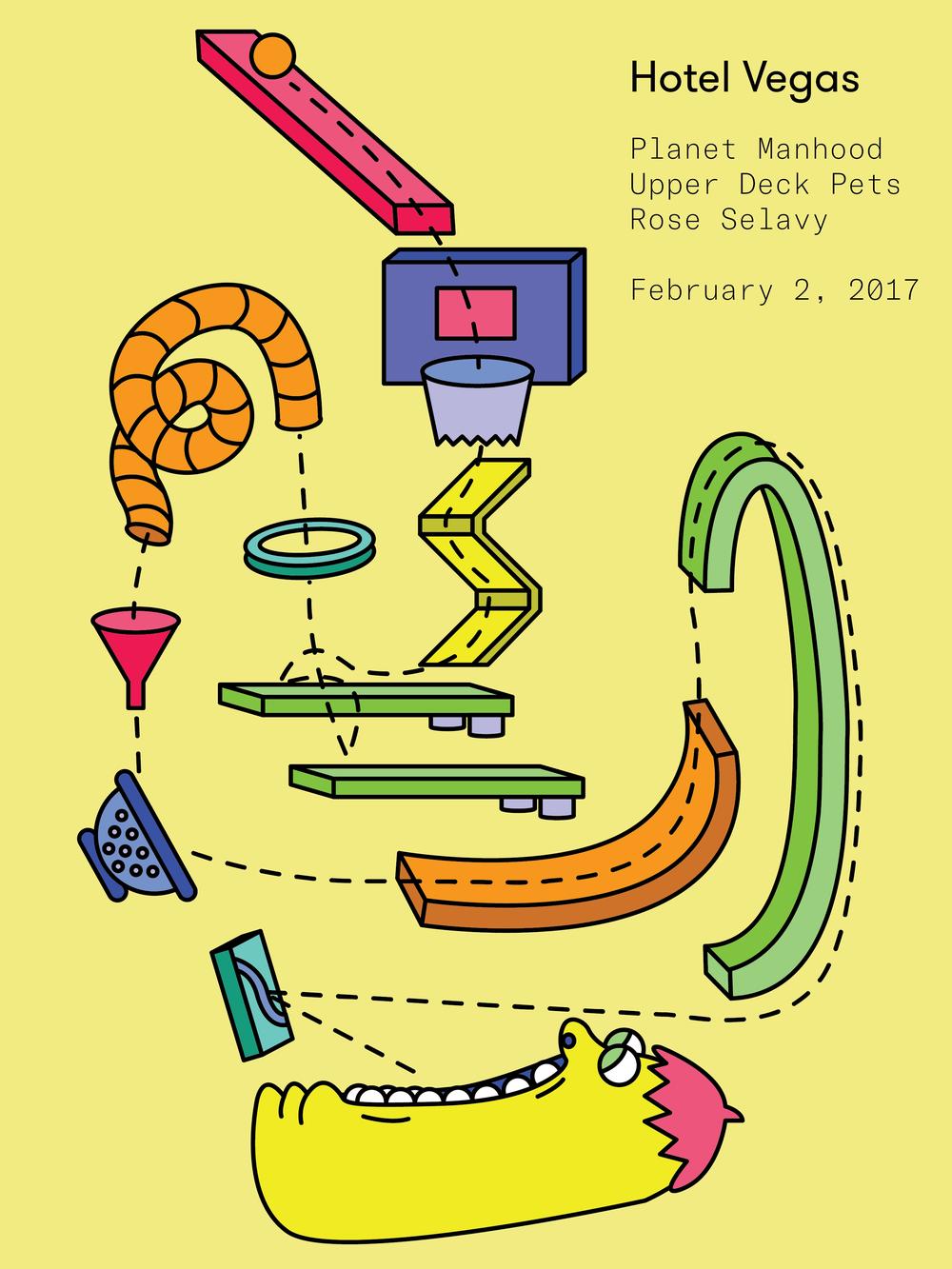 February 2, Austin, TX - Gig Poster for Hotel Vegas