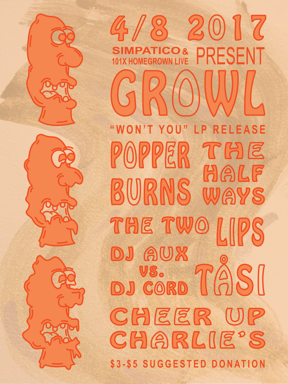 Gig Poster for Growl's LP release show, April 8th, Cheer Up Charlie's, Austin, TX