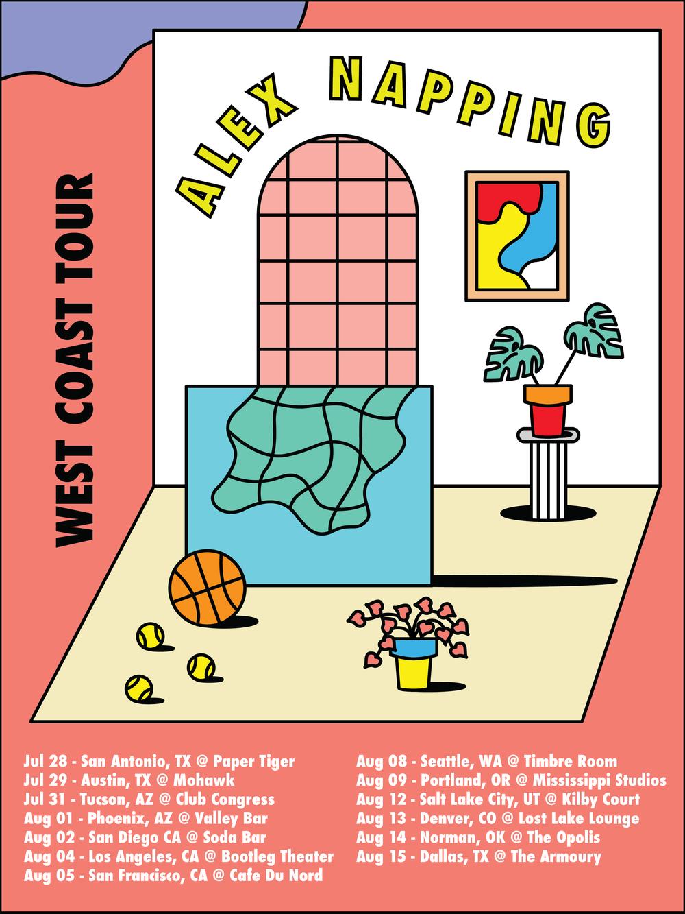 Tour Poster for Alex Napping West Coast Tour, 2017