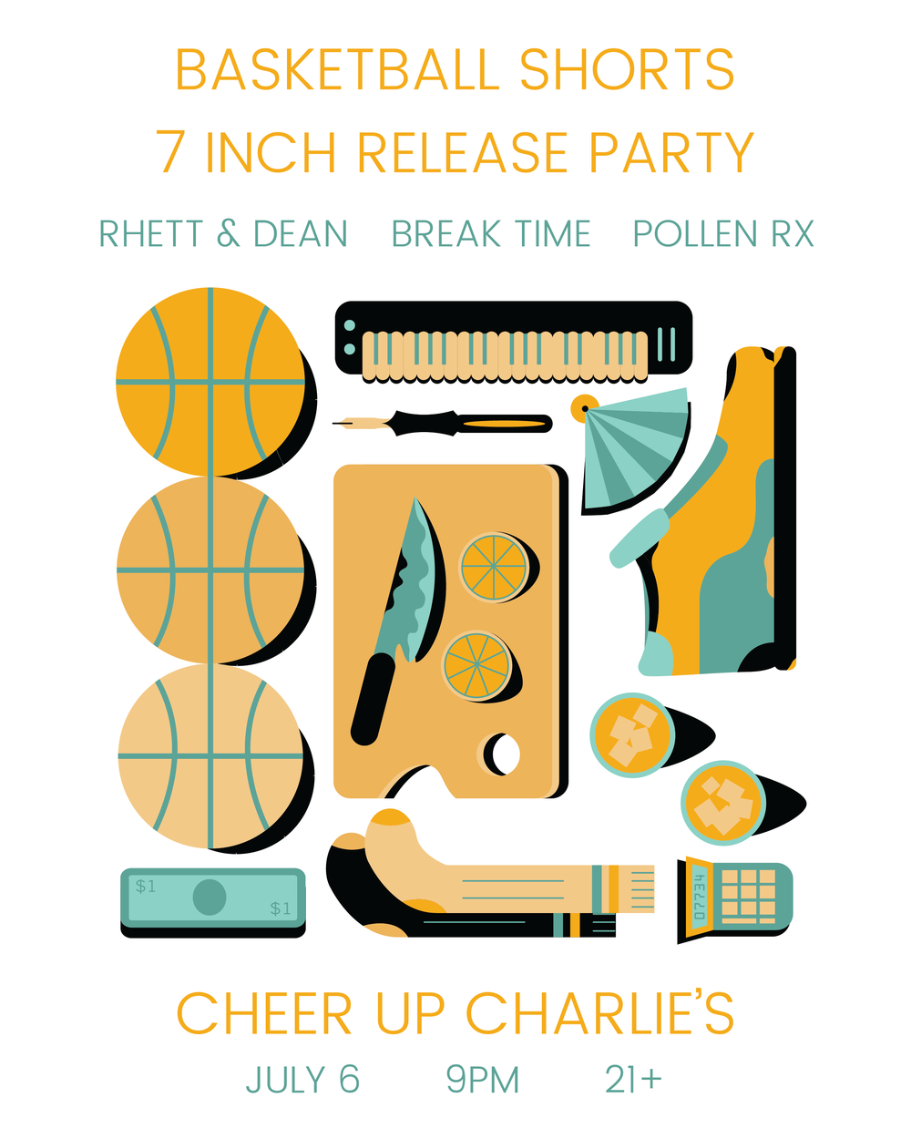 """July 7th, Austin, TX - Gig poster for Austin band Basketball Shorts' 7"""" release show"""