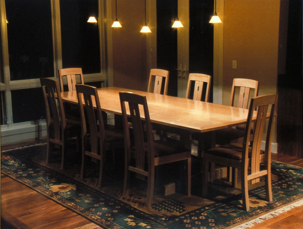 Fiddleback Maple Dining Table And Chairs