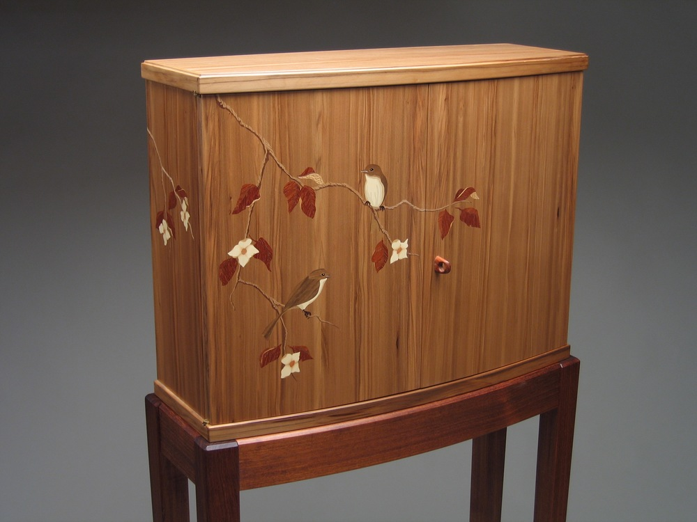 Phoebe Cabinet - Redgum and tzalam with marquetry