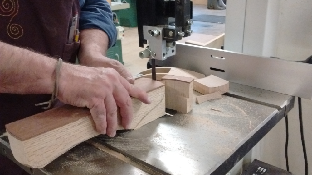 Using the bandsaw to cut the shape of a hand-made wooden plane
