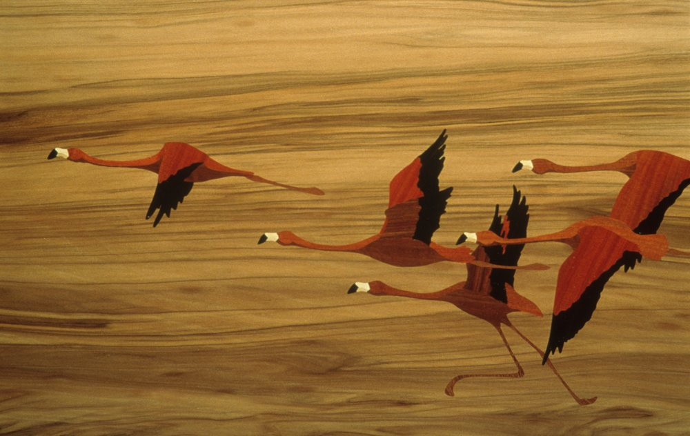 Flamingo Writing Box marquetry detail