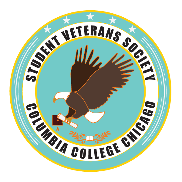Client: Student Veterans Society The Columbia College Chicago Student Veterans Society needed a logo that spoke to both service, strength, education, and creativity. By studying various military insignia, medals, and symbolism, I created this logo for the organization utilizing Columbia College Chicago's color palette.