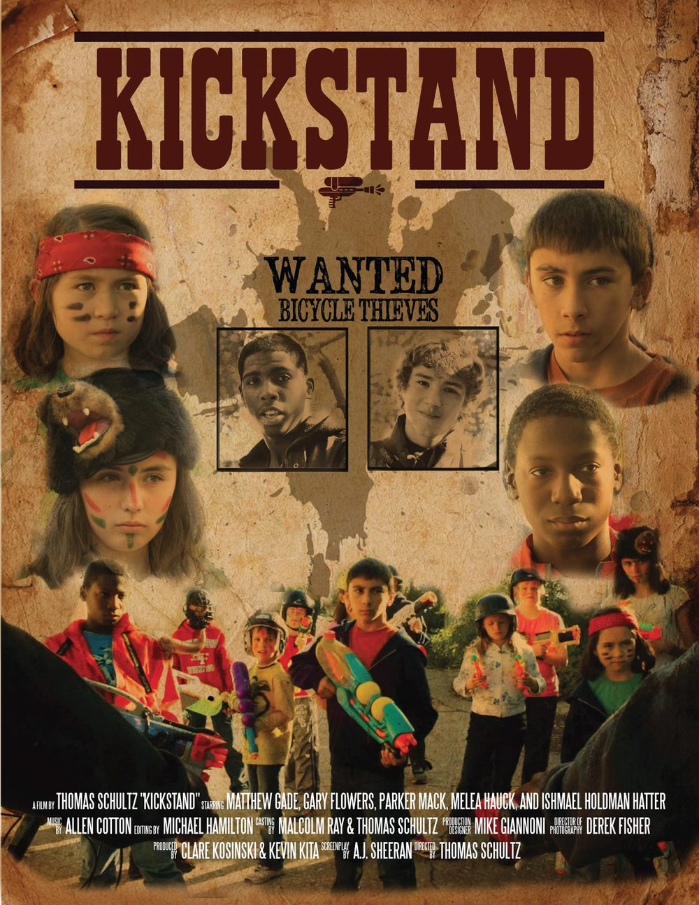 "Film: "" Kickstand""  Heavily inspired western film, this poster plays with pops of color and grungy texture."