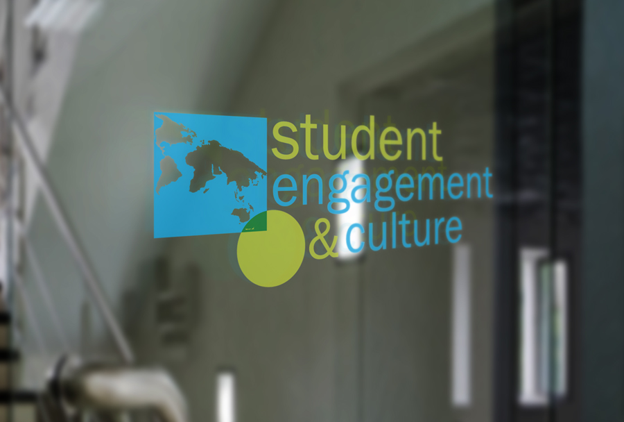 Client: Student Engagement & Culture, Columbia College Chicago By abstracting the globe, this logo speaks to the mission of global exchange, engagement and culture while remaining in Columbia College Chicago's branding requirements with font and color.