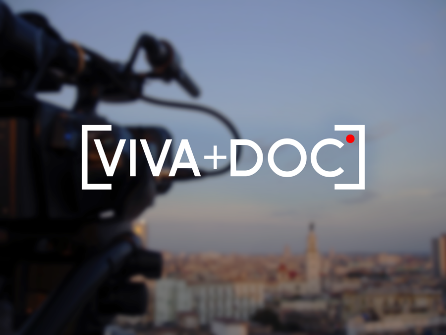 Client: Viva Doc Inspired a video camera interface, this logo for the documentary  group, Viva Doc, incorporates minimal color and iconography to convey filming.