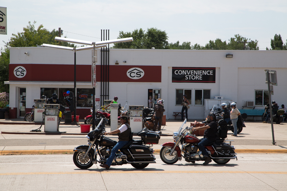 Corner Store, bikers on their way to Sturgis, SD.