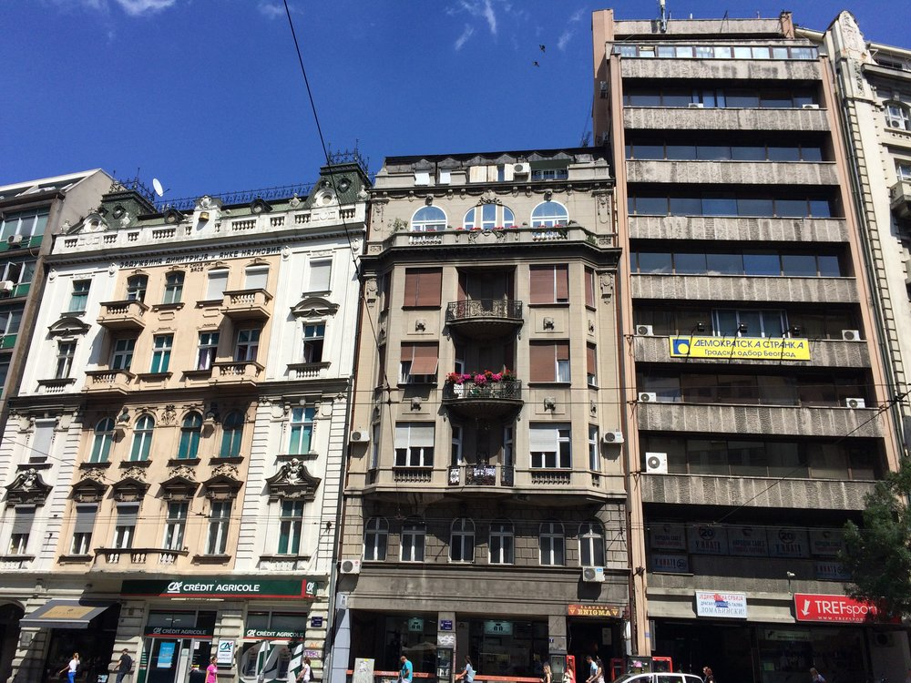 Architectural mash up:  Austrian era (left) and Yugoslavian era (right)