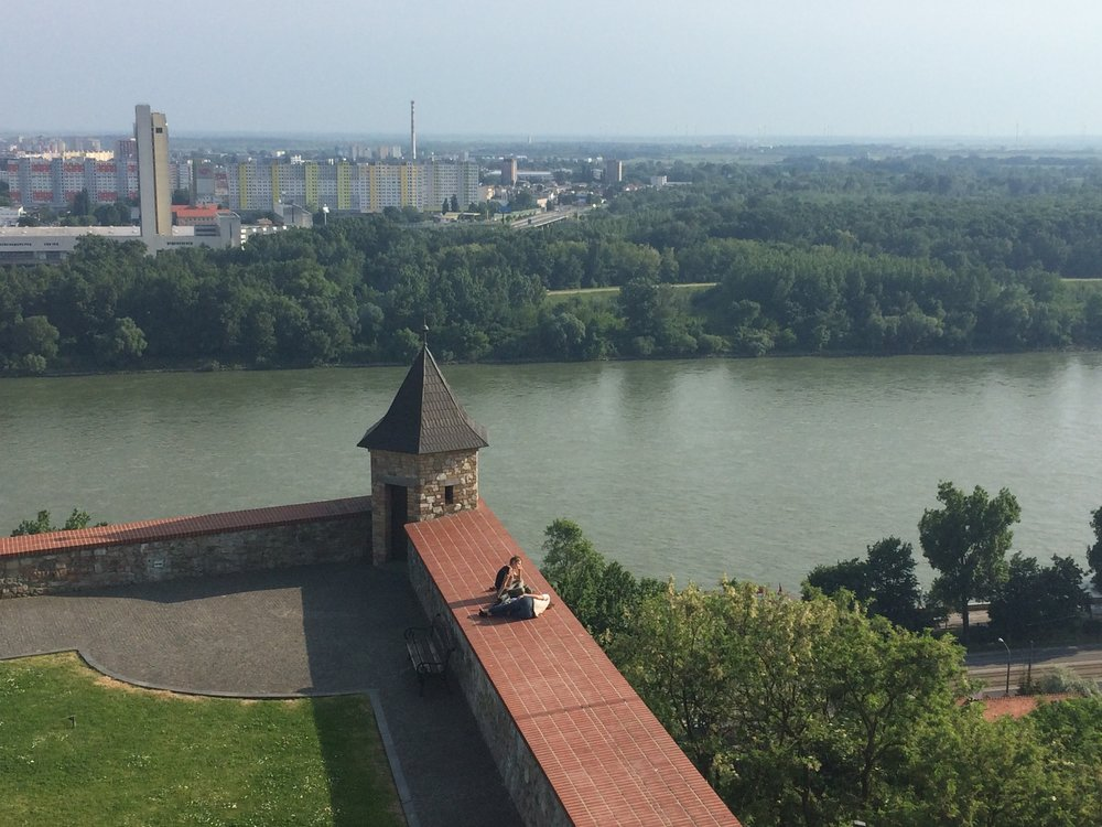 View of the Danube from the top of Bratislava Castle