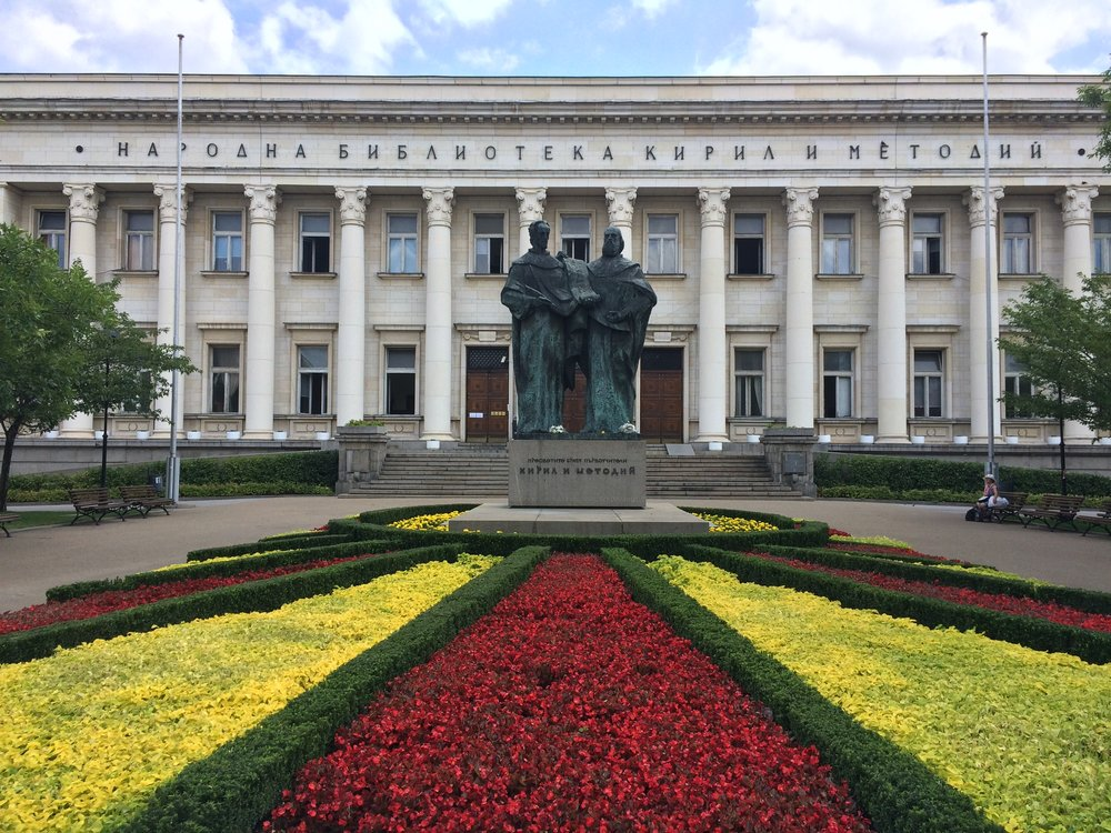 National Library in Sofia and Saints Cyril & Methodius, inventors of the Cyrillic alphabet