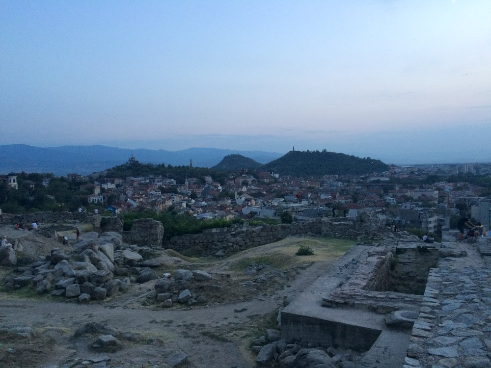 Thracian ruins on the hill of Nebet Tepe with three of the Plovdiv's Seven Hills in the background