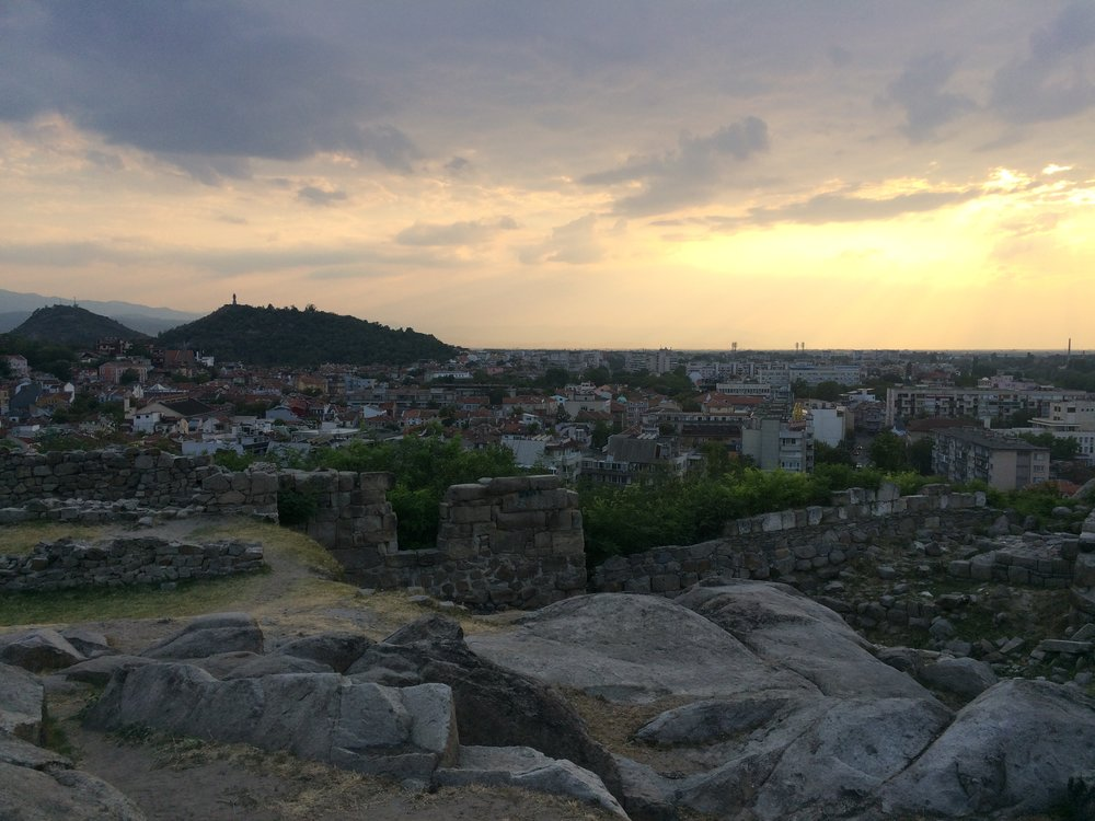 Top of Nebet Tepe with the hills of Plovdiv in the background