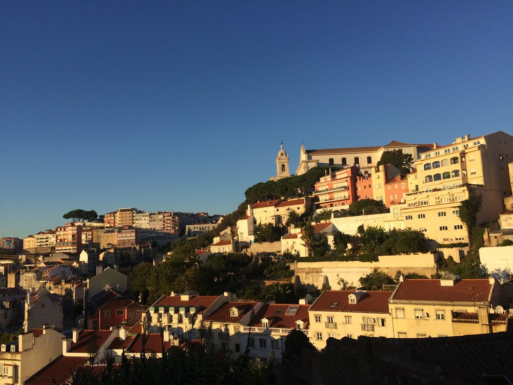 Hills of Lisbon's Alfama at sunset