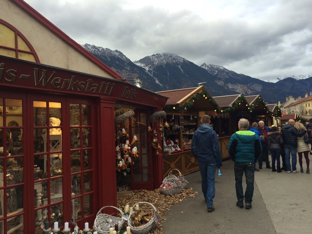 Christmas market with an Alpine backdrop