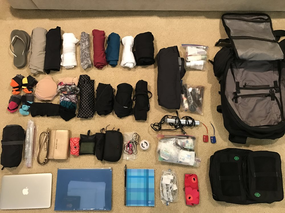 Everything going into my Tortuga 44 liter backpack and packing cubes