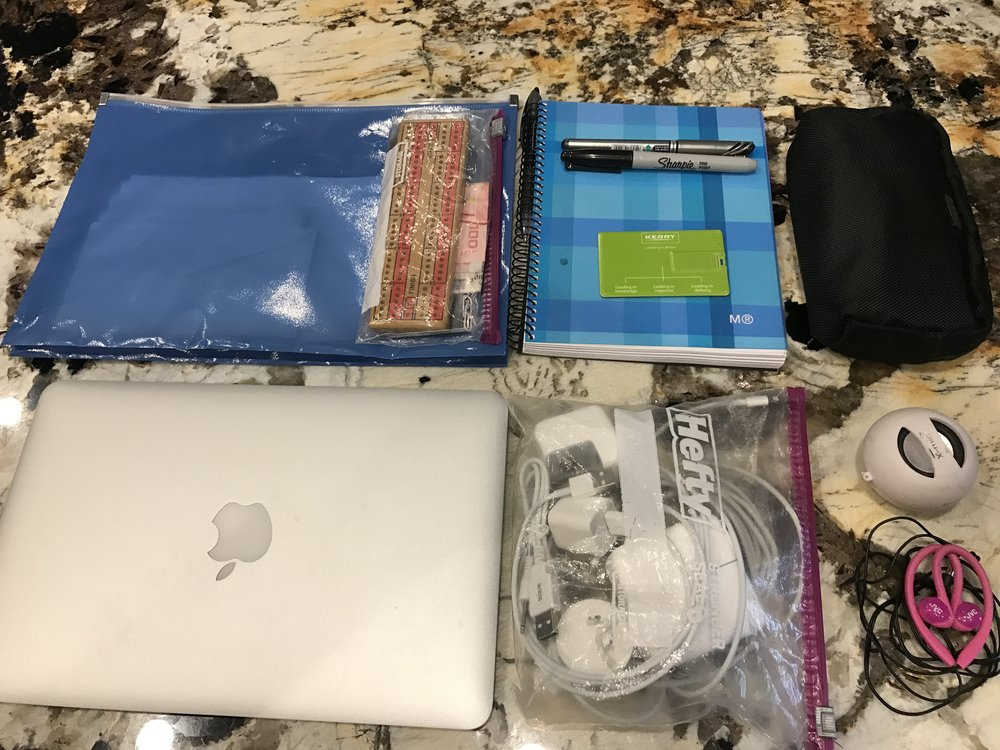 Folder with passport/currency/travel documents/cribbage board, Macbook Air 11 inch, cords/plugs, memory stick, pens, notebook, miscellaneous office supplies/first aid kit (black pouch), mini speaker, earbuds, iPhone 7 (not shown)