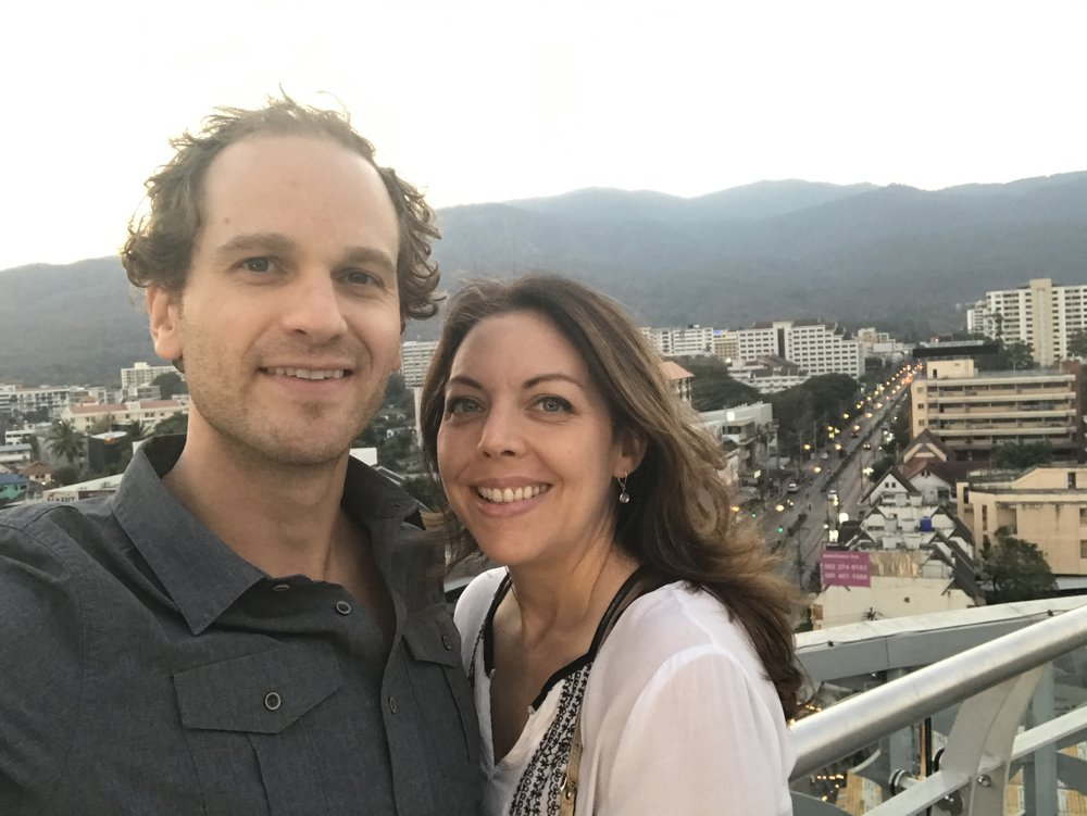 Why are we so happy?  The sun is setting in Chiang Mai.