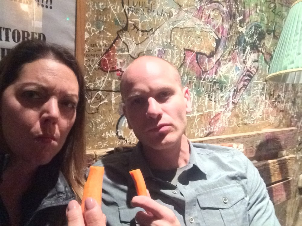 Late night carrots at a ruin bar in Budapest, Hungary.  June, 2016