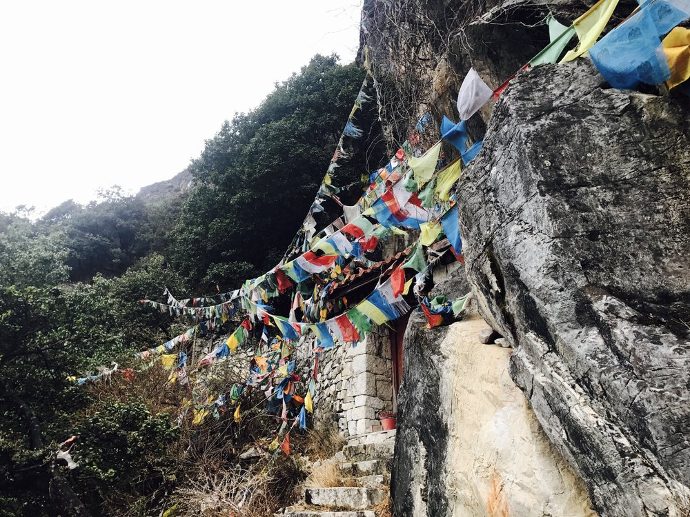 Buddhist prayer flags on the trail.  The five colors are arranged in specific order and represent the five elements.