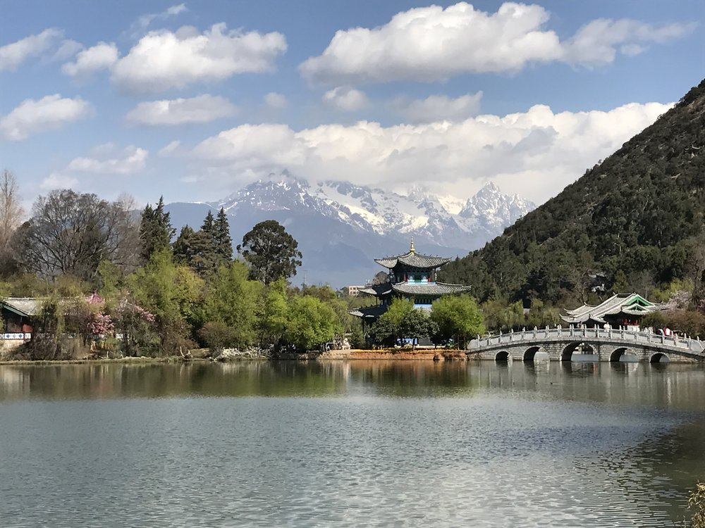 View of Jade Dragon Snow Mountains from Black Dragon Pool, Lijiang