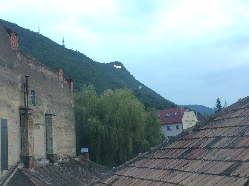 View from the bedroom window of an Airbnb in Brasov, Romania