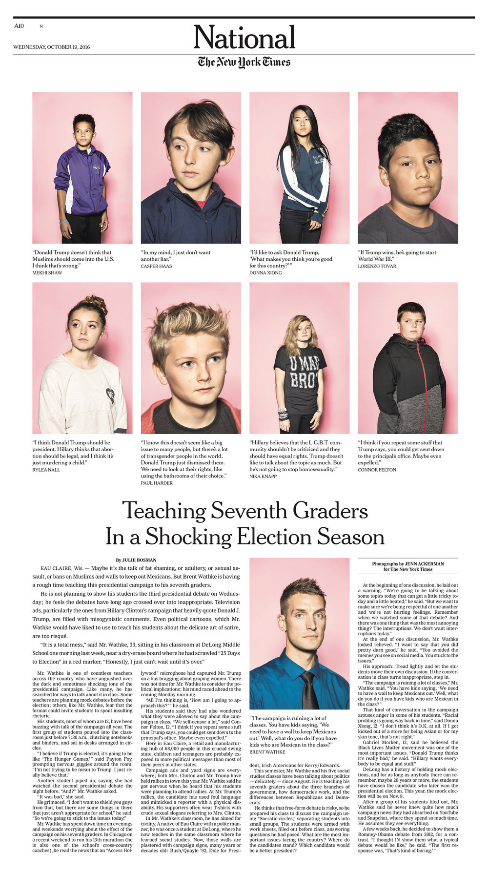 7th Grade Politics / The New York Times