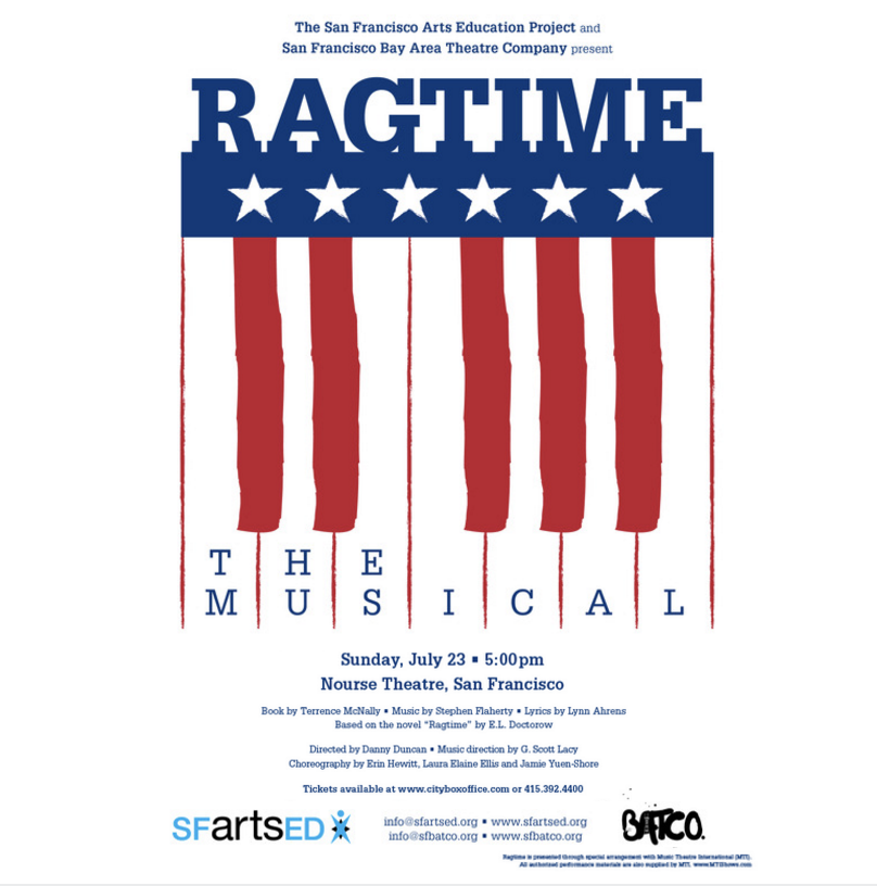 In the summer of 2017 BATCO joined forces with its longtime partner SFartsED for a 1 night on concert of Ragtime at the Nourse Theatre. 6 professional Batco Company members combined with 50 SFartsED summer program students.