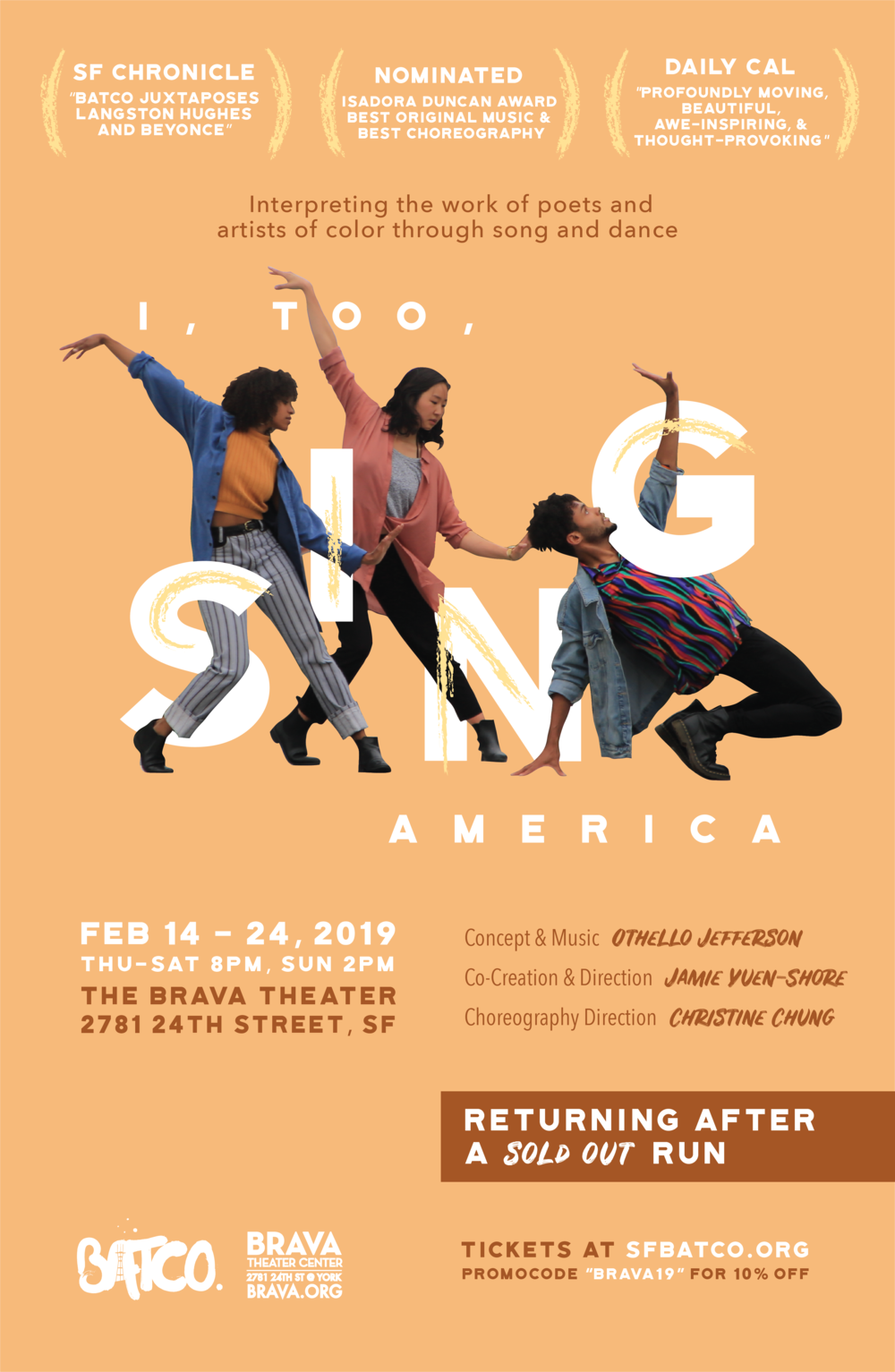 join us @the brava theater febRUARY 14 - 24 - Using a diverse cast of singers, actors, poets, and performers,