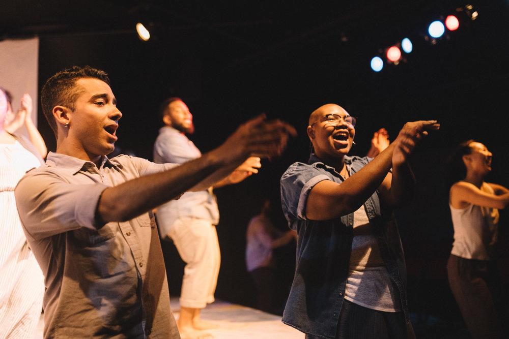 "Pictured : Daniel Cancel & Willie Hercule in BATCO's production of ""I, Too, Sing America"" @ Brava Theatre Feb 14 - 24; photo: Lorenz Angelo Gonzales"
