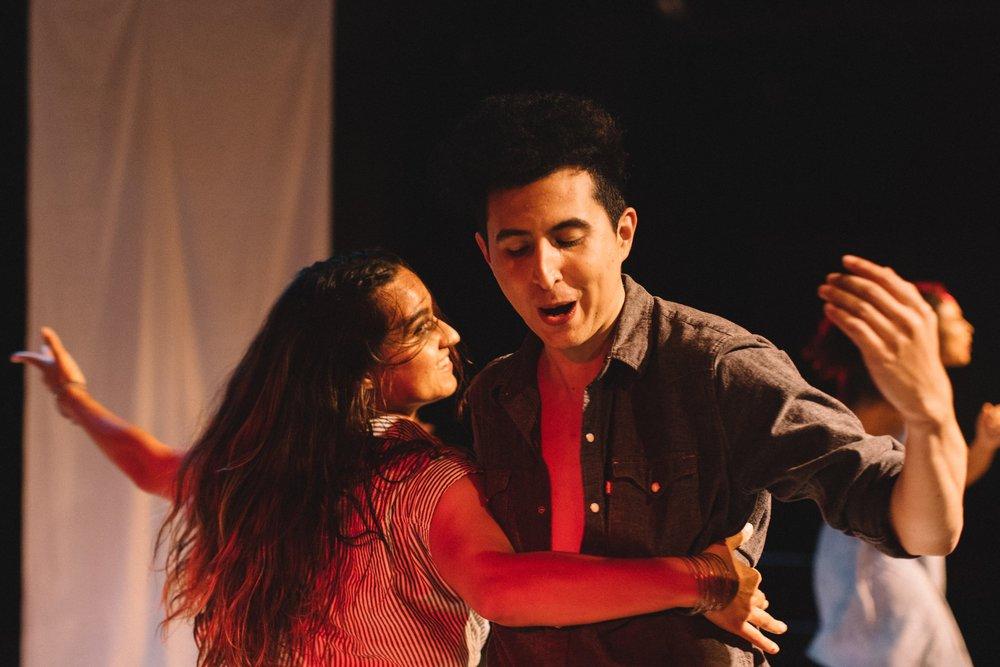 "Pictured : Tanya Gonzalez & Marcelo Javier Pereira in BATCO's production of  ""I, Too, Sing America""  @ Brava Theatre Feb 14 - 24; photo: Lorenz Angelo Gonzales"
