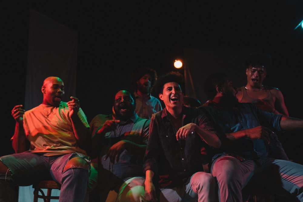 """Pictured : Joshua Bowden, Marcelo Pereira, Marcus Paige, Gus Wellin, & Quinn Fowler in BATCO's production of """"I, Too, Sing America"""" @ Brava Theatre Feb 14 - 24; photo: Lorenz Angelo Gonzales"""