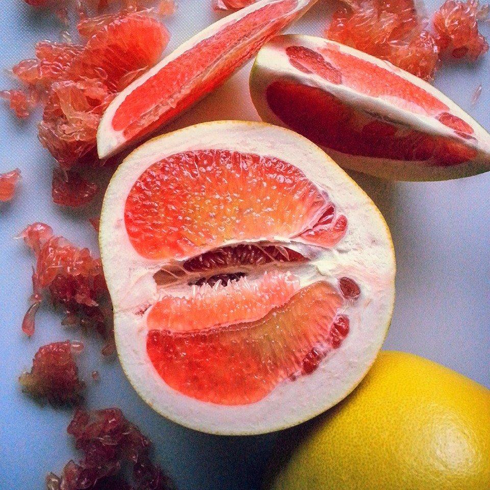 Freshly cut Pink Pomelo