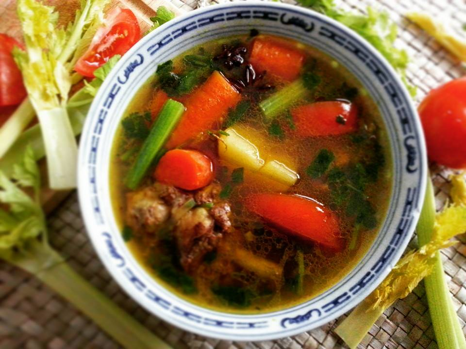 "Malaysian village style ""sup kampung"" chicken soup"