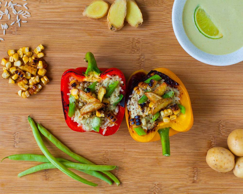 Thai Green Curry Stuffed Peppers