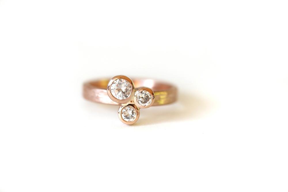 Three Cluster Diamond Ring