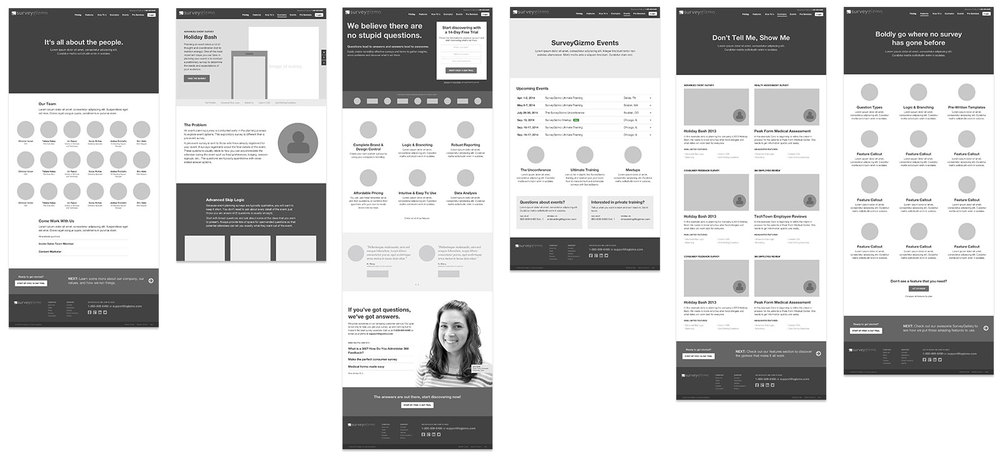 Initial wireframes for the SurveyGizmo website