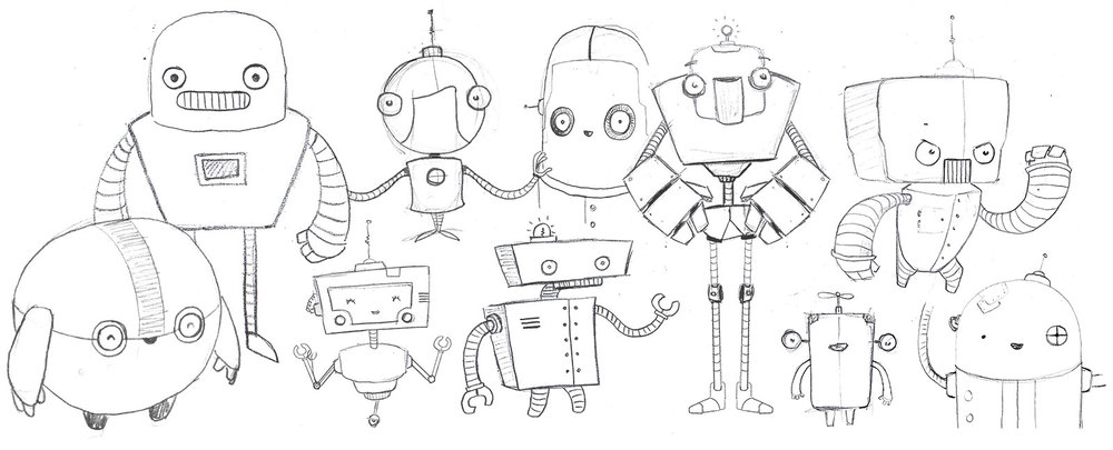 Robot character concept sketches