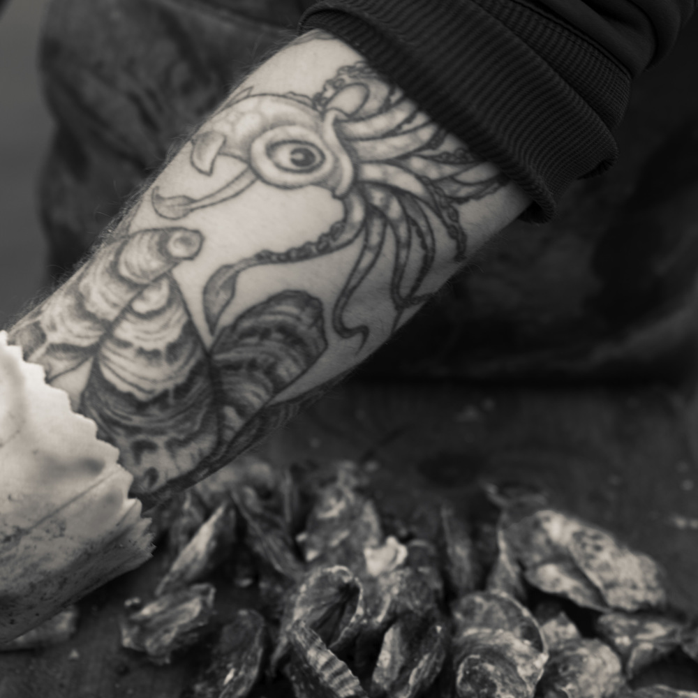 Tattooed Arm of Oyster Farmer