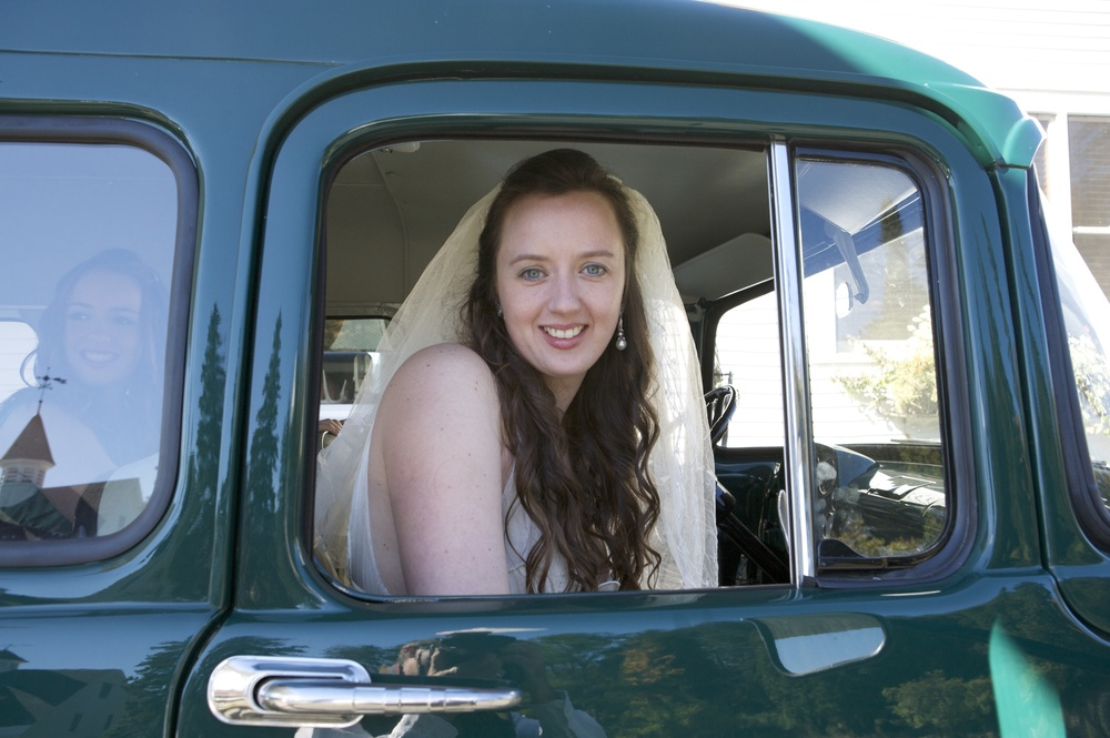Bride Arriving In Vintage Truck