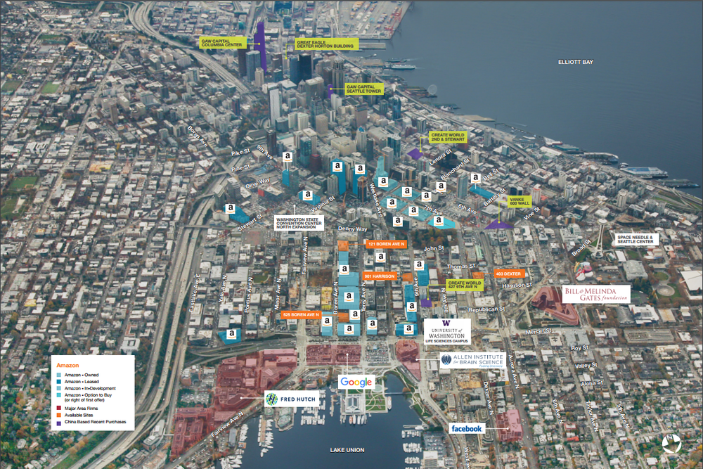 LIVE, WORK & PLAY: A major tenant map of South Lake Union including current and announced campuses by Kidder Mathews shows real estate holdings by various high-tech firms and institutions, which is driving the residential demand in the region.